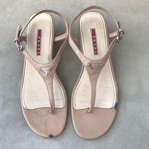 PRADA nude patent sandals wedges size 38.5EU